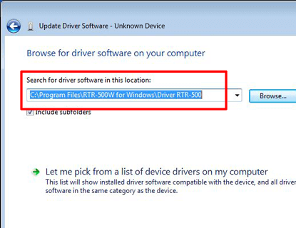 Click the [Browse] button and select the driver folder