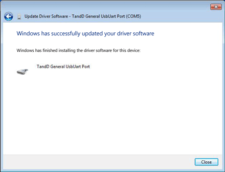 After the message 'Windows has successfully updated driver software' appears, click [Close]